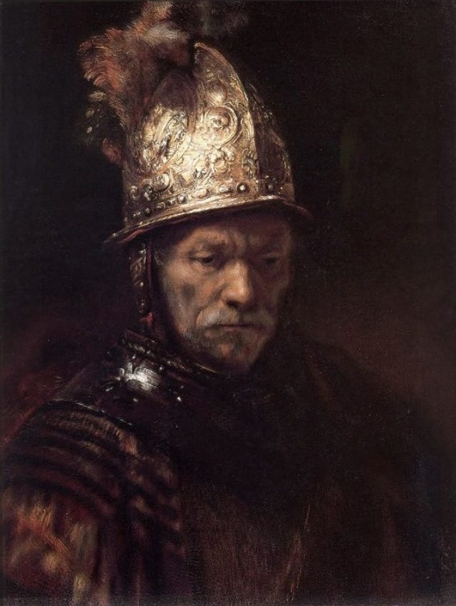 Rembrandt van Rijn – Man in a Gold Helmet – from the circle around